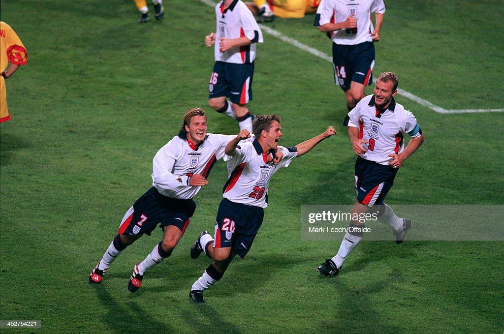 22 June 1998 FIFA World Cup England v Romania Michael Owen of England celebrates his goal with teammates David Beckham and Alan Shearer
