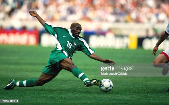 19 June 1998 FIFA World Cup Nigeria v Bulgaria Jay Jay Okocha of Nigeria stretches for the ball
