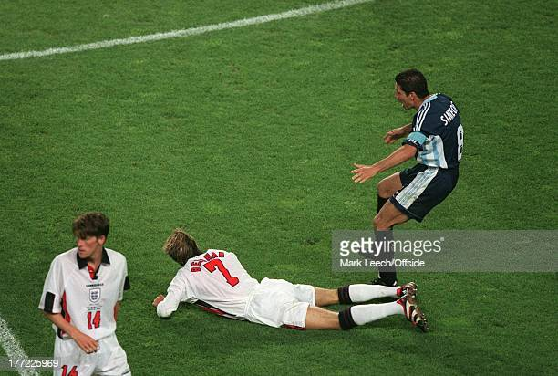 30 June 1998 World Cup round of sixteen Argentina v England David Beckham aims a kick at Diego Simeone