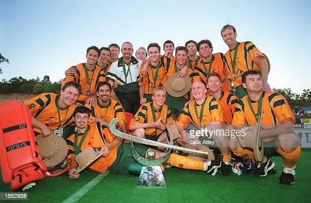 Australian ''Kookaburra's Mens Hockey team celebrate their victory following Australia's defeat over Korea in The Mens Final at the State Hockey...