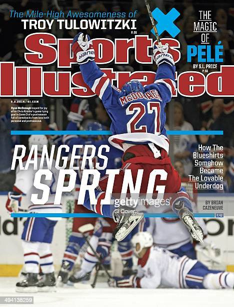 Hockey NHL Playoffs New York Rangers Ryan McDonagh victorious leaping after teammate Chris Kreider scored Game 3 tying goal during final minute of...