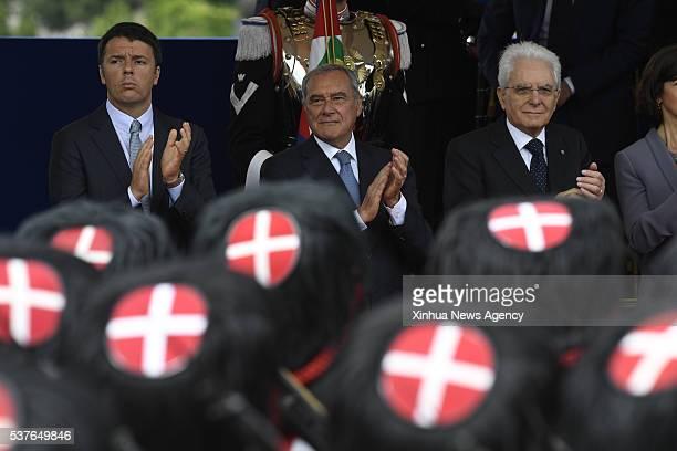 ROME June 2 2016 Italian Prime Minister Matteo Renzi Italian Senate President Pietro Grasso and Italian President Sergio Mattarella from left to...
