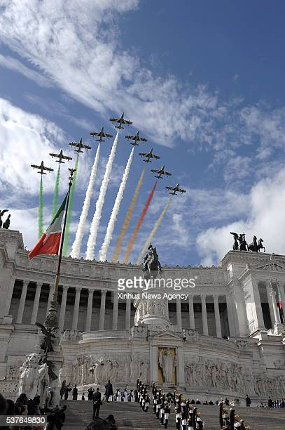 ROME June 2 2016 The Italian Frecce Tricolori aerobatic squad performs during the Republic Day military parade in Rome Italy on June 2 2016 After a...