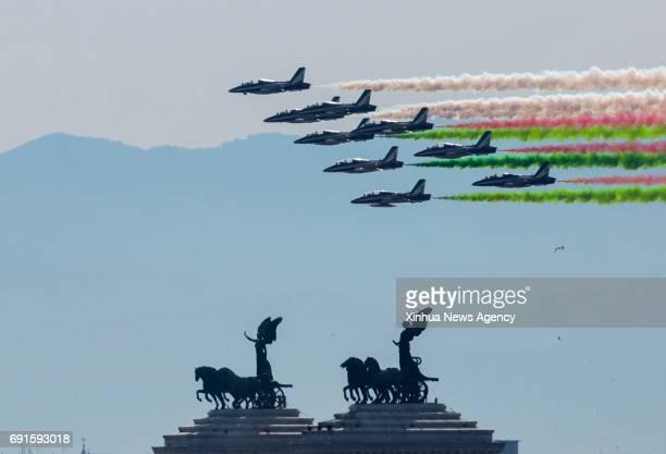 ROME June 2 2017 The Italian Frecce Tricolori aerobatic squad performs during the Republic Day military parade in Rome Italy on June 2 2017