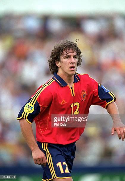 Carles Puyol of Spain during the European Under 21's Championships 2000 against Slovakia at the Inter Stadium Bratislava SlovakiaSpain won 10...