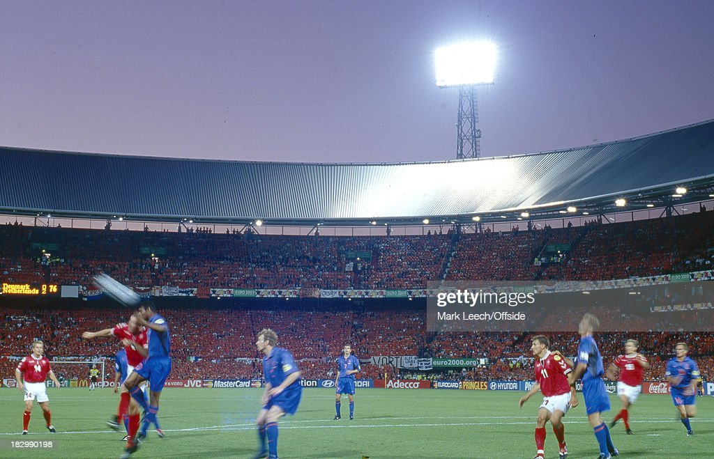 16 June 2000 Euro Championships Denmark v Netherlands A general view of the Feijenoord Stadium with a Denmark corner being taken in the foreground