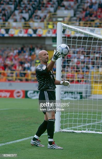 11 June 2000 EURO Championships France v Denmark Fabien Barthez of France collects the ball for a goal kick