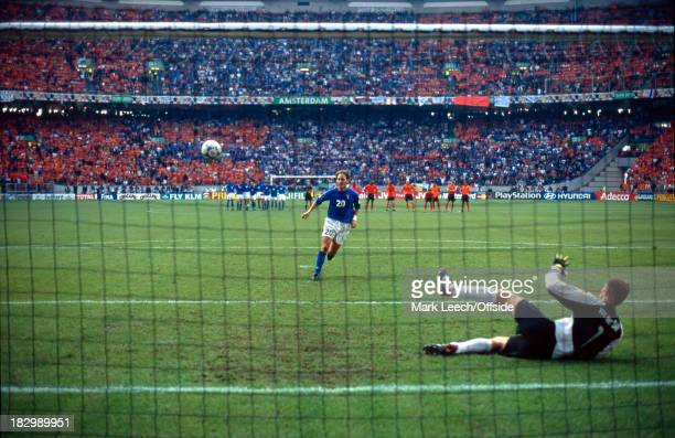 29 June 2000 Euro Championships Italy v Netherlands Francesco Totti of Netherlands chips his penalty into the net