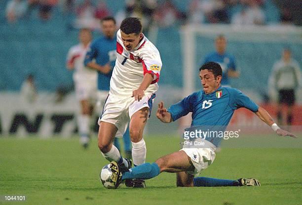 Libor Sionko of Czech Republic gets past Bruno Cirillo of Italy during the European Under 21's Championships Final at the Slovan Stadium Bratislava...