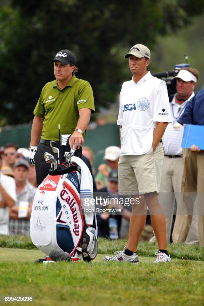 Phil Mickelson and caddie Bones during the second round of the US Open Championship at Torrey Pines South Golf Course in San Diego CA