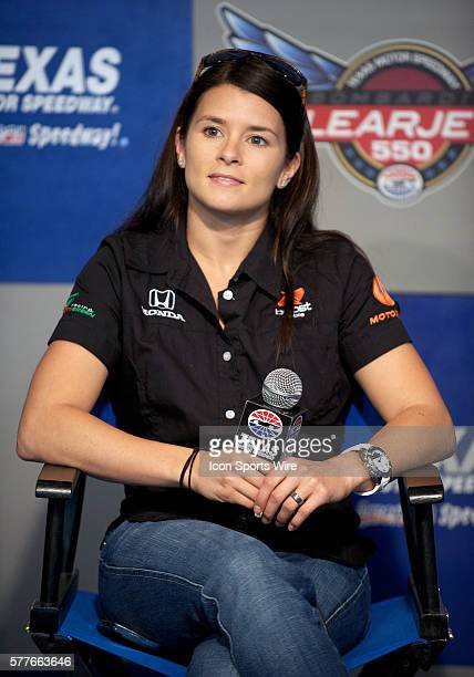Andretti Green Racing driver Danica Patrick addresses the media during a press conference at the Bombardier Learjet 550k at the Texas Motor Speedway...