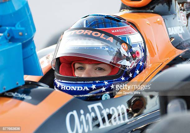 Andretti Green Racing driver Danica Patrick sits in her car before practice at the Bombardier Learjet 550k at the Texas Motor Speedway in Fort Worth...