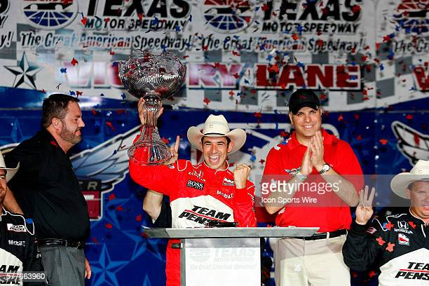 Helio Castroneves wins for the third time at the Bombardier LearJet 550K at the Texas Motor Speedway in Fort Worth Texas