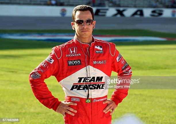 Team Penske driver Helio Castroneves on pit road before the qualifying round at the Bombardier Learjet 550k at the Texas Motor Speedway in Fort Worth...