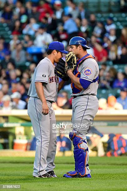 Battery mates New York Mets relief pitcher Daisuke Matsuzaka and New York Mets catcher Anthony Recker in a MLB game between the New York Mets and the...