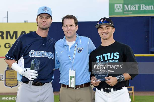 California League AllStar Jesse Winker and Chad Bell from Hodgson VoTech receive trophies after winning the