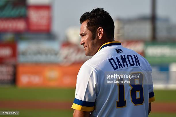 Former Wilmington Blue Rock and Major Leaguer Johnny Damon has his number retired by the Blue Rocks prior to the 2014 California LeagueCarolina...