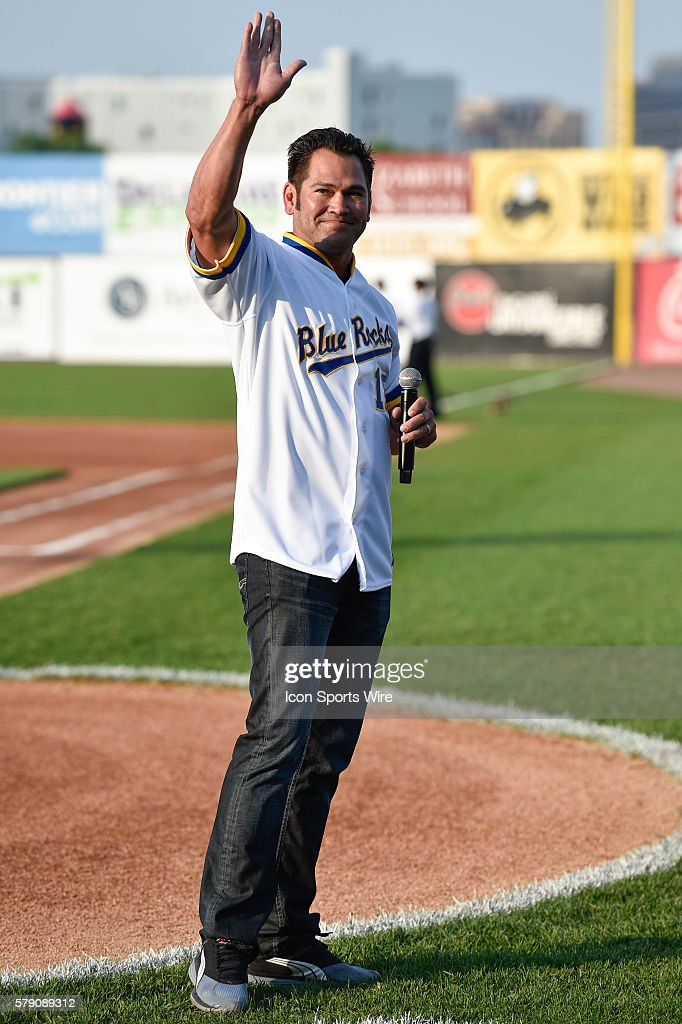 Former Wilmington Blue Rock and Major Leaguer Johnny Damon has his number retired by the Blue Rocks, prior to the 2014 California League-Carolina League All-Star Game at Daniel S. Frawley Stadium in Wilmington, De.
