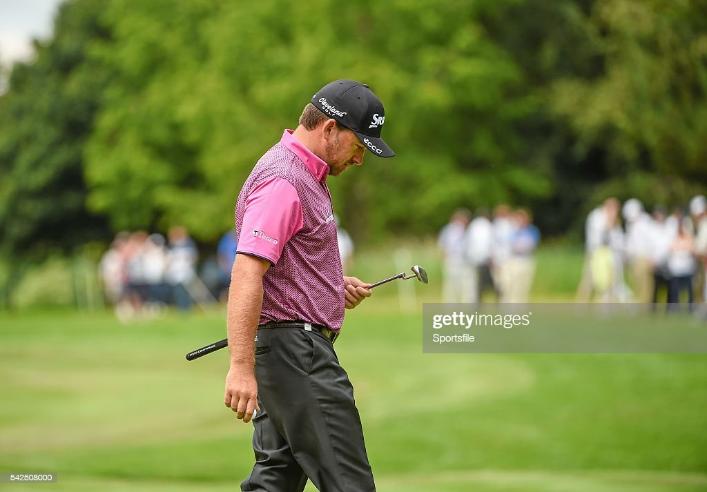 22 June 2014 Graeme McDowell after making his bogey putt on the fifteenth green during the final day of the 2014 Irish Open Golf Championship Fota...