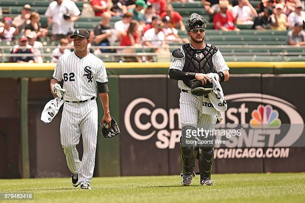 Battery mates Chicago White Sox Starting pitcher Jose Quintana [9614] and Chicago White Sox Catcher Tyler Flowers [6904] prior the playing in a inter...