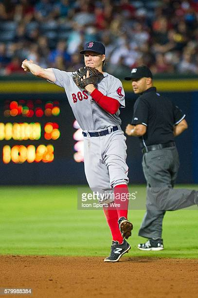Boston Red Sox second baseman Brock Holt during a regular season game between the Boston Red Sox and the Atlanta Braves at Turner Field in Atlanta...