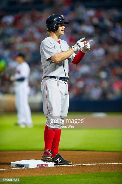 Boston Red Sox Second Baseman Brock Holt on thurd after a triple during a regular season game between the Boston Red Sox and the Atlanta Braves at...