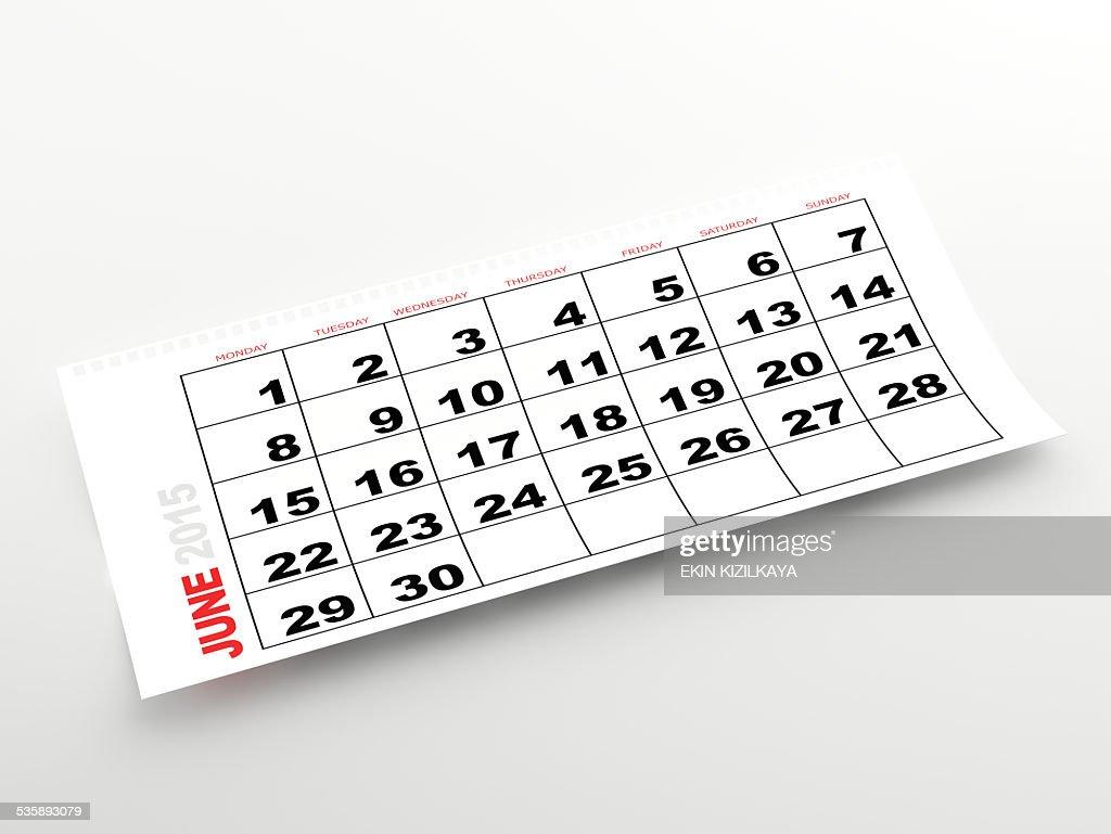 2015 年 6 月のカレンダー : ストックフォト