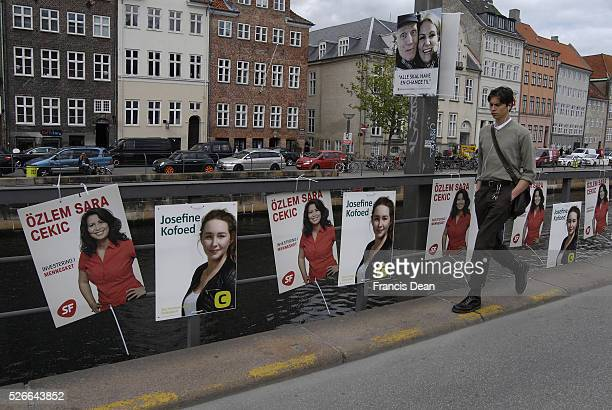 DENMARK 08 jUNE 2015 Ms��zlem Sara Cekic kuds orgins kudsdanish member of danish parliament for Danish social people party on her reelections poster...