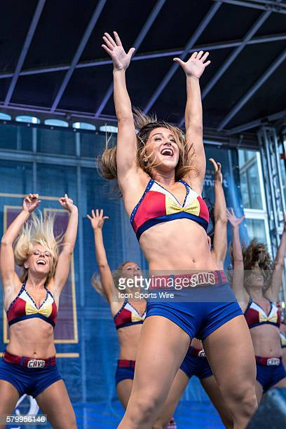 The Cavaliers Girls perform at Cavs Fan Fest outside Quicken Loans Arena prior to Game 4 of the NBA Finals between the Golden State Warriors and...