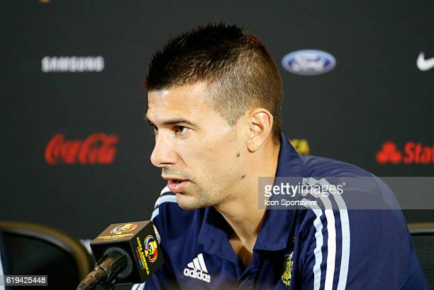Argentina defender Victor Cuesta answers a question during the press conference Argentina practiced in advance of their quarterfinal match against...