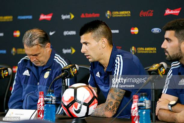 Argentina defender Victor Cuesta responds to questions from the media Argentina practiced in advance of their quarterfinal match against Venezuela in...