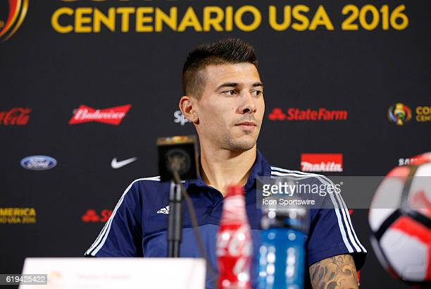 Argentina defender Victor Cuesta waits for a question during the press conference Argentina practiced in advance of their quarterfinal match against...