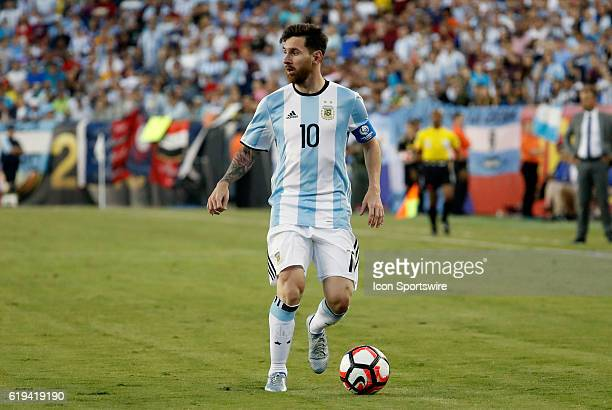 Argentina forward Lionel Messi looks for a target in the box Argentina defeated Venezuela 41 in the quarterfinal of the 2016 Copa America Centenario...