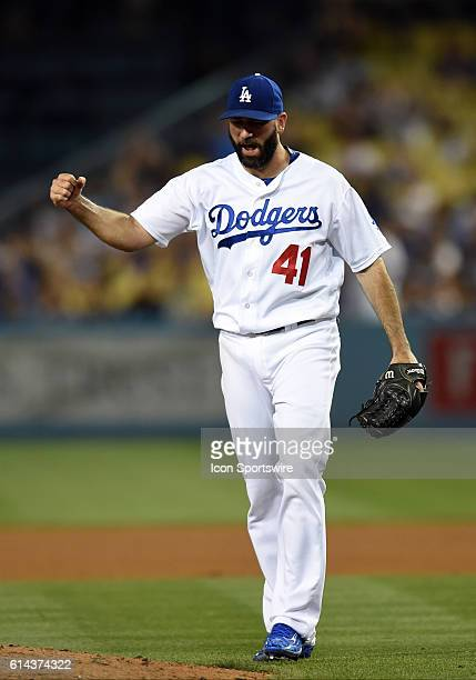 Los Angeles Dodgers Pitcher Chris Hatcher [6729] pumps his fist after the third out of the inning during a Major League Baseball game between the...