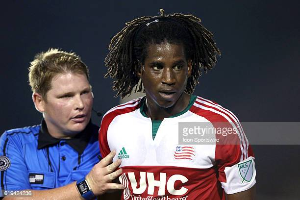 New England's Femi HollingerJanzen gets talked to by referee Kevin Terry Jr The Carolina RailHawks hosted the New England Revolution at WakeMed...