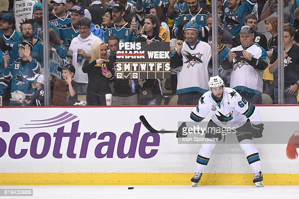 San Jose Sharks right wing Melker Karlsson stands on the ice in front of bunch of Shark's fans prior to Game Two in the 2016 NHL Stanley Cup Final...