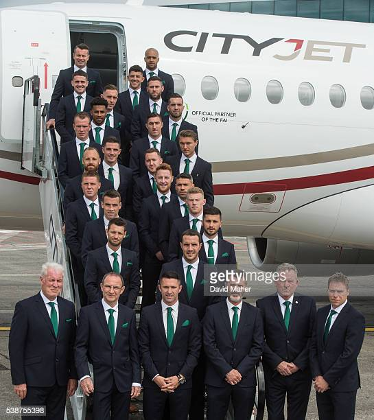 8 June 2016 The Republic of Ireland management front row from left goalkeeping coach Seamus McDonagh manager Martin O'Neill captain Robbie Keane...