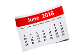 June.Calendar 2018 year simple style. Week starts from sunday