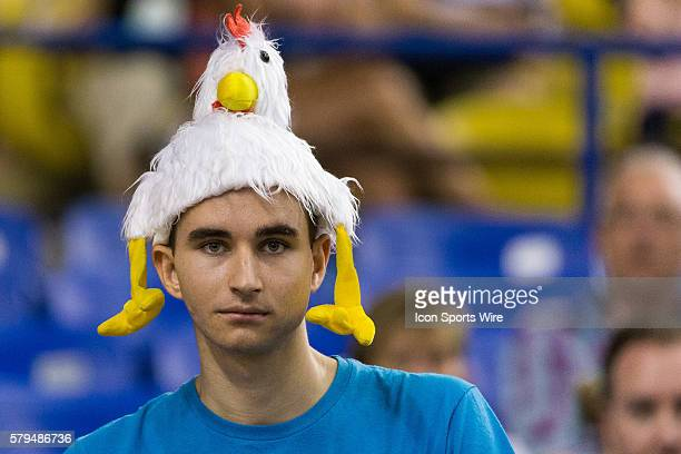 A fan wears a chicken hat during the 2015 FIFA Women's World Cup Round of 16 match between France and Korea at the Olympic Stadium in Montreal Quebec...