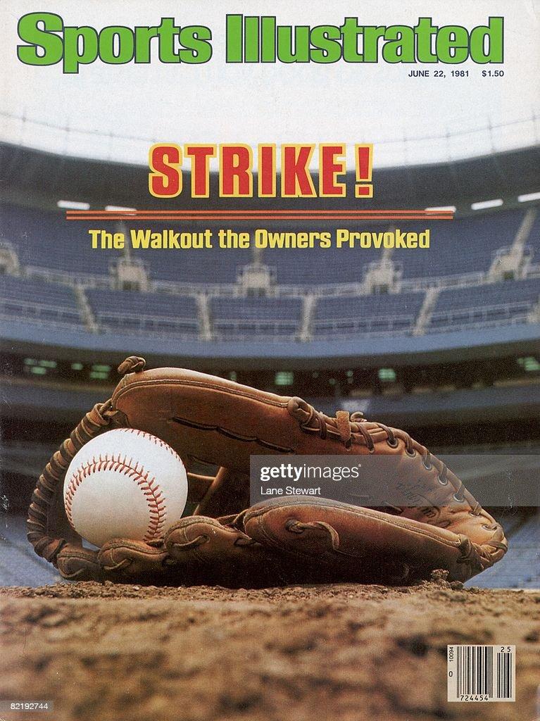 Baseball MLB Player's Strike View of ball in glove equipment at empty Yankee Stadium Bronx NY 5/29/1981 CREDIT Lane Stewart