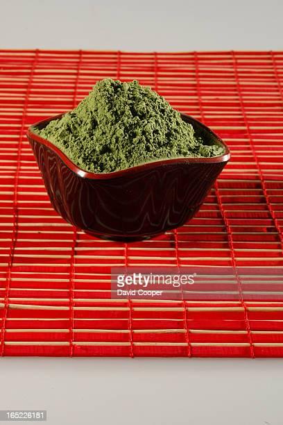 Food cover on trendy Matcha Green Tea Powder