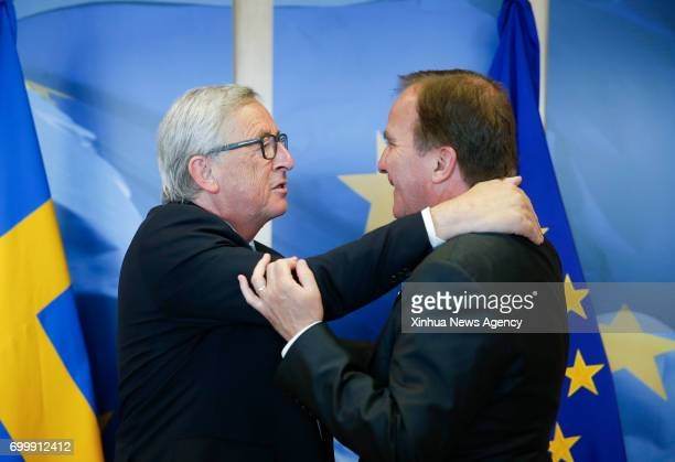 BRUSSELS June 22 2017 European Commission President JeanClaude Juncker and Swedish Prime Minister Stefan Lofven greet each other prior to a meeting...