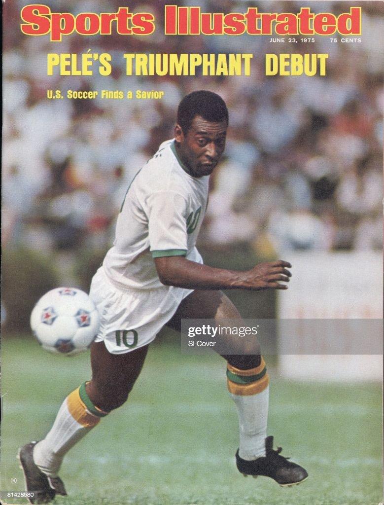 June 23 1975 Sports Illustrated Cover NASL Soccer New York Cosmos Pele in action vs Dallas Tornado at Downing Stadium New York NY 6/15/1975