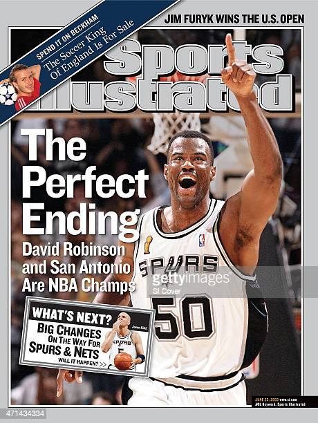 June 23 2003 Sports Illustrated Cover Basketball NBA Finals San Antonio Spurs David Robinson victorious gesturing number 1 after winning Game 6 and...