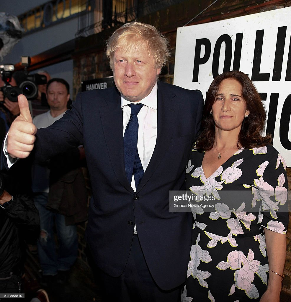 The Former Mayor of London Boris Johnson, left, and his wife Marina vote for the EU Referendum in central London, Britain, on June 23, 2016.