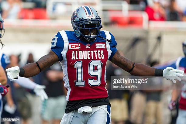 Montreal Alouettes slotback SJ Green acknowledges the crowd prior to a CFL game between the Ottawa Redblacks and the Montreal Alouettes at the...
