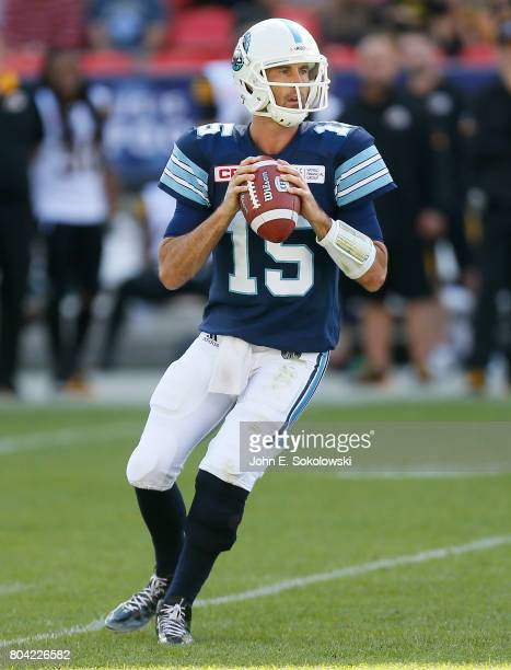 June 25 2017 Toronto Ontario CAN Ricky Ray of the Toronto Argonauts looks to pass against the Hamilton TigerCatsToronto Argonauts defeat the Hamilton...
