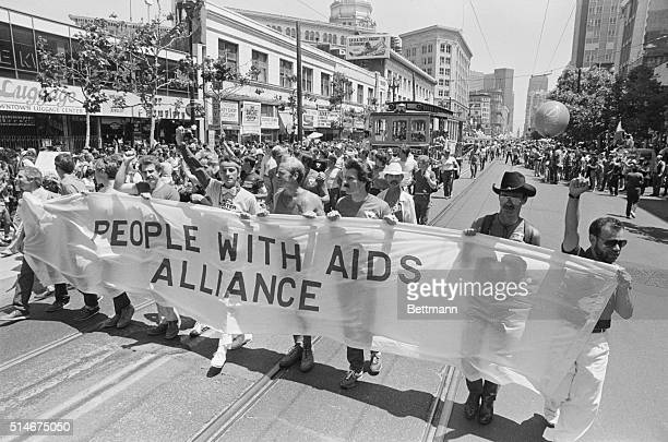 June 26 1983'People With Aids' March in gay parade b/w photograph