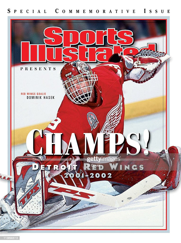 June 27 2002 Sports Illustrated Presents Cover Hockey NHL Finals Detroit Red Wings goalie Dominik Hasek in action making save vs Carolina Hurricanes...