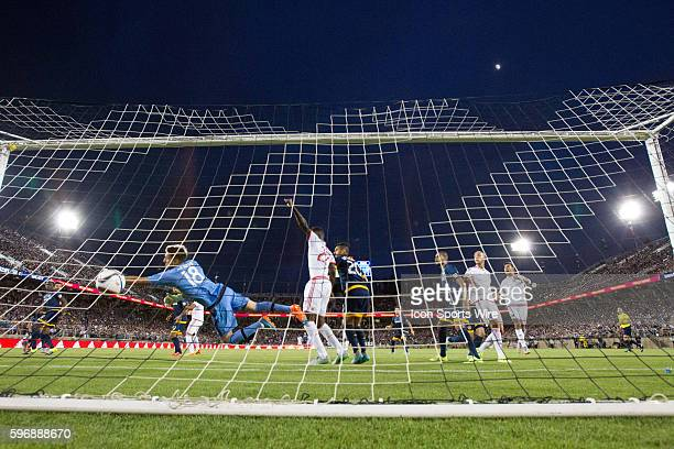 Los Angeles Galaxy goalkeeper Jaime Penedo cannot save a shot on goal by San Jose Earthquakes defender Clarence Goodson during the game between the...